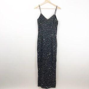 VTG Brilliante Full Beaded Low Back Maxi Dress, S